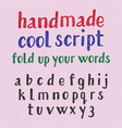handwritten style cool typeface isolated english vector image