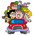 happy family in car on vacation vector image