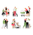 happy family with children vector image