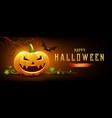 happy halloween pumpkin smile and bat with tree vector image vector image