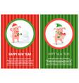 happy new year postcard pig in santa costume vector image vector image