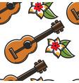 hawaiian guitar and plumeria flower seamless vector image
