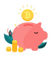money box pig with falling bitcoin vector image vector image