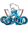 octopus the mad cook vector image vector image