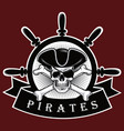 pirate skull with cross bones hat and eyepatch red vector image vector image