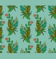 Seamless pattern of tropical leaves and flower