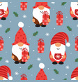 seamless pattern with christmas gnomes and gift vector image