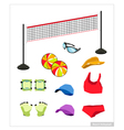 Set of Beach Volleyball Equipment on White