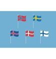 Set of nordic europe flags Norway Sweden