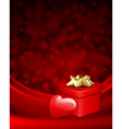 shiny heart and gift on silk vector image vector image