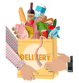shopping paper bag with fresh products vector image vector image