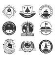 space monochrome emblems set vector image