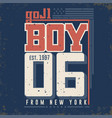 t-shirt graphics - boy from new york city vector image
