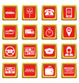 taxi icons set red vector image