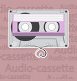 vintage audio cassette with heart shaped messy vector image vector image