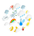 weather icons set isometric 3d style vector image vector image