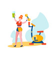 woman holding dumbbell and smoothies in hand vector image vector image