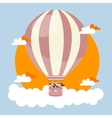 people kids flying in sky with hot balloon friends vector image
