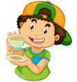 a boy srinking coffee vector image