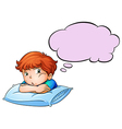 A young boy leaning over the pillow with an empty vector image vector image