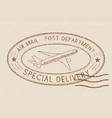 air mail special delivery postmark beige oval vector image vector image