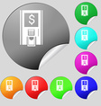 atm icon sign Set of eight multi colored round vector image