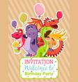 baby dragons poster invitation card vector image