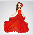 beauty princess in red dress vector image vector image