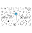 Bicycle collection in doodle style vector image vector image