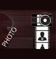 black camera and film with icons on a brick wall vector image vector image