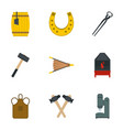 blacksmith equipment icon set flat style vector image vector image