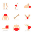 bone problem icons set cartoon style vector image vector image