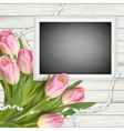 Bouquet of tulips and chalkboard EPS 10 vector image
