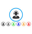 call center operator rounded icon vector image vector image