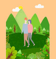 cartoon people in casual walk together in forest vector image vector image