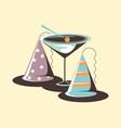 celebrating cocktail party hat retro vintage vector image