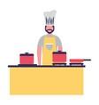 chief cooking male in the kitchen vector image