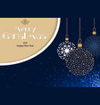 christmas greeting card with hanging baubles vector image
