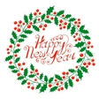 christmas wreath with wish a happy new year vector image