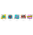comic colorful banners collection vector image vector image