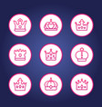 crowns line round icons vector image vector image