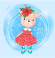 Cute christmas card with cartoon teddy bear girl