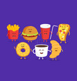 cute fast food burger soda french fries and pizza vector image