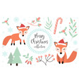 cute fox in winter forest set objects vector image vector image