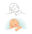 cute little sleeping baby vector image vector image