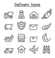 delivery logistic icon set in thin line style vector image vector image
