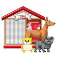 dog cage with animal group cartoon isolated vector image vector image