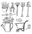 doodle garden tools pot and watering can vector image