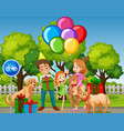 family celebrate birthday at park vector image