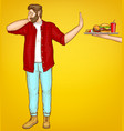 fatty man rejecting fast food cartoon vector image